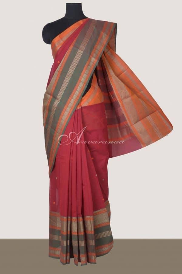 Maroon kanchi cotton ganga jamuna border saree-0