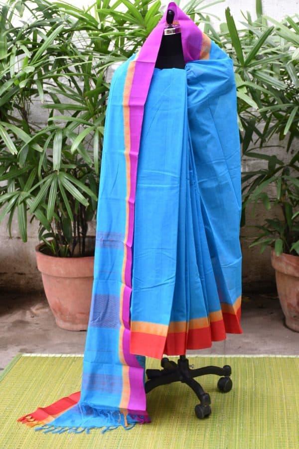 Teal blue kanchi cotton with silk border saree-0