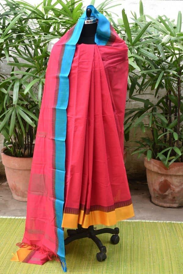 Red kanchi cotton with silk border saree-14290