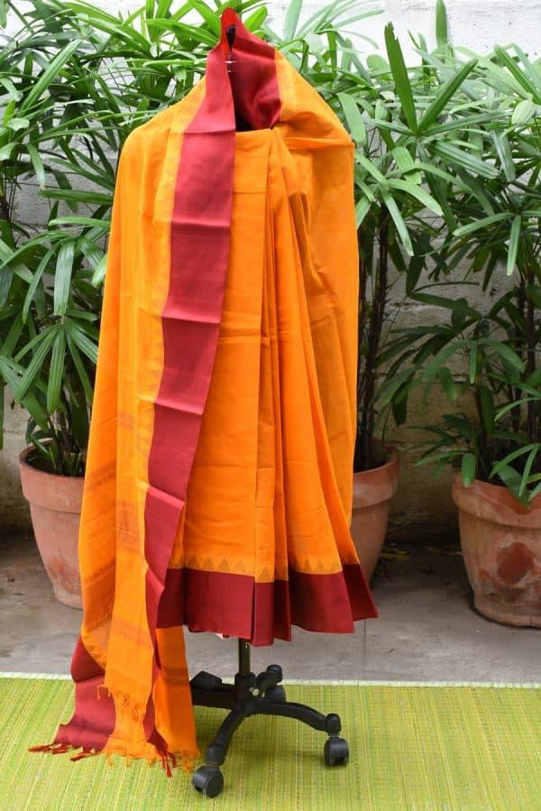 Musatrd kanchi cotton with silk border saree-0