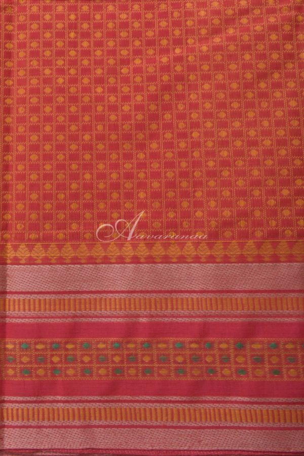 Red kanchi cotton saree withtread woven border-14556