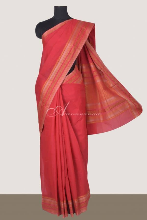 Red kanchi cotton saree withtread woven border-0