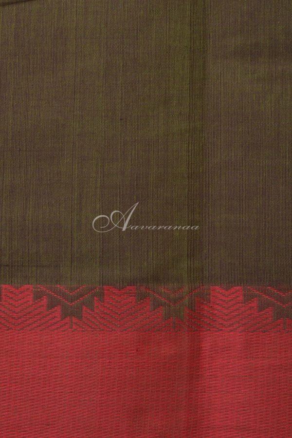 Mehandi green kanchi cotton red border saree-14562