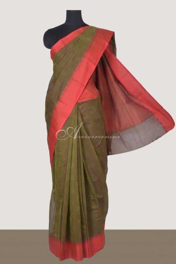 Mehandi green kanchi cotton red border saree-0