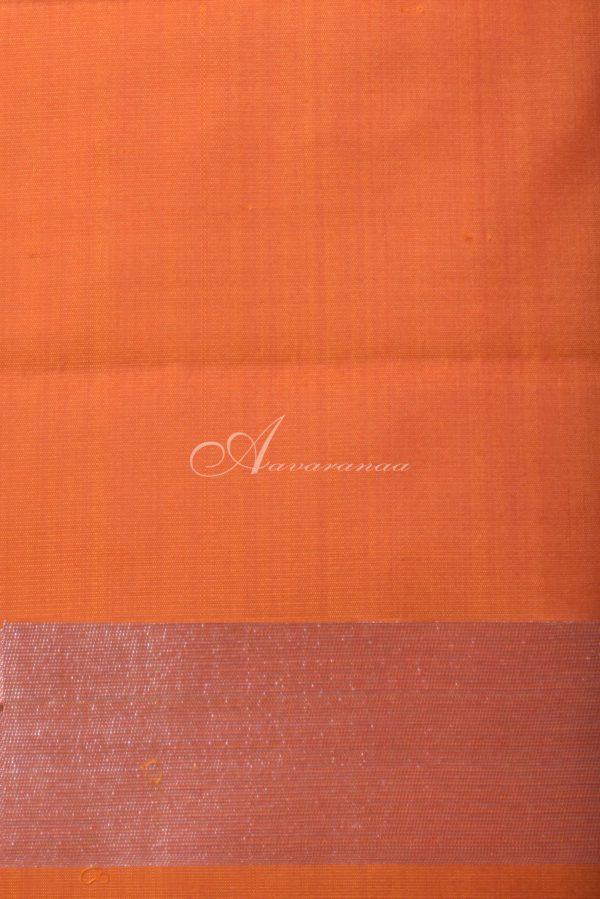 Plain orange kanchipuram silk saree-14563
