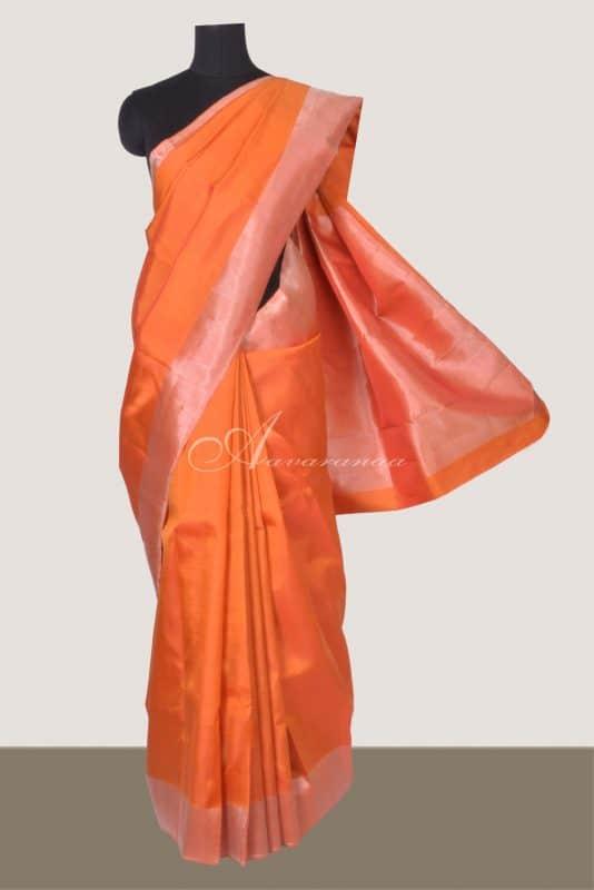 Plain orange kanchipuram silk saree-0