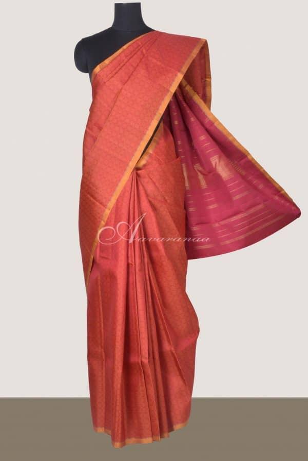 Rust kanchi silk in paimadi saree-0