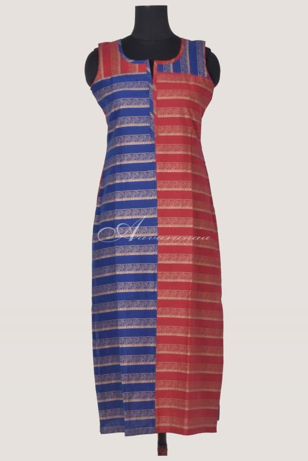 Red and blue printed cotton kurta-0