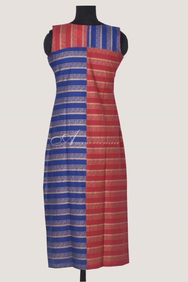 Red and blue printed cotton kurta-14448