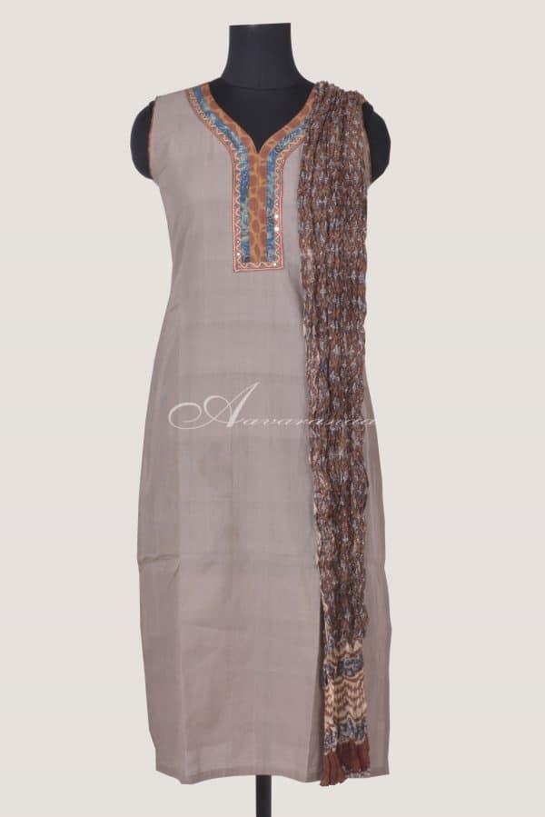 Grey cotton sleeveless top and dupatta-0