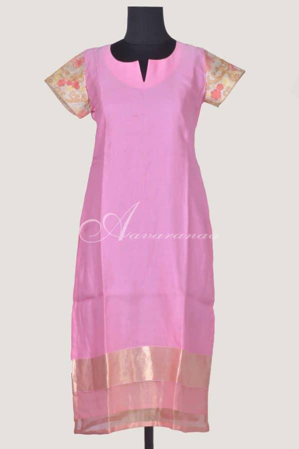 Baby pink chanderi kurta-0