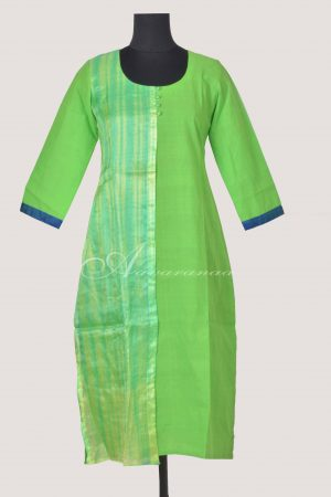 Green half layered cotton kurta-0