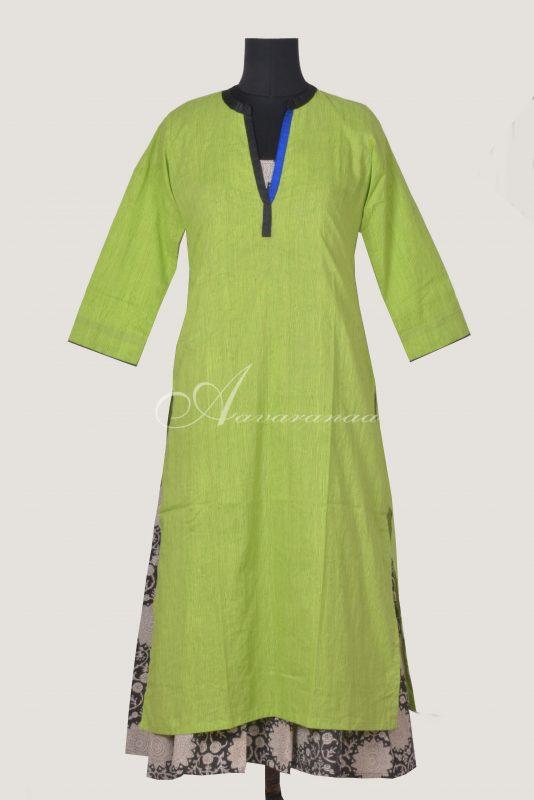 Green layered cotton kurta-0