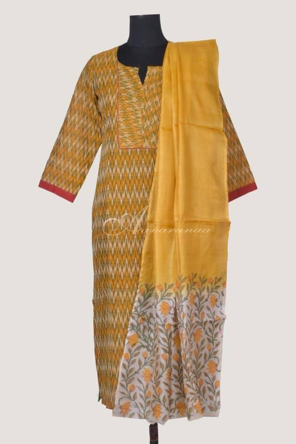 Yellow ikat top with tussar dupatta-0