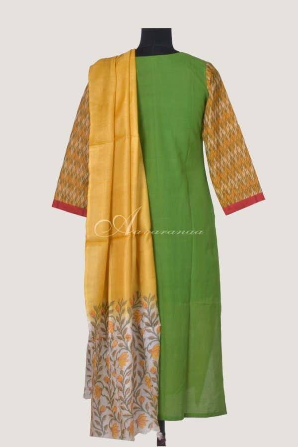 Yellow ikat top with tussar dupatta-14455
