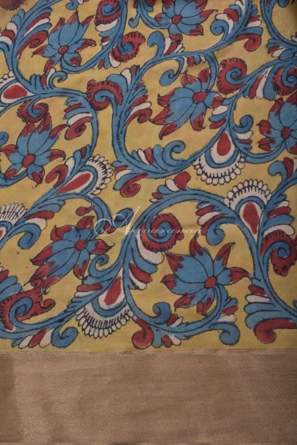 Teal cotton tussar saree with kalamkari blouse-14590