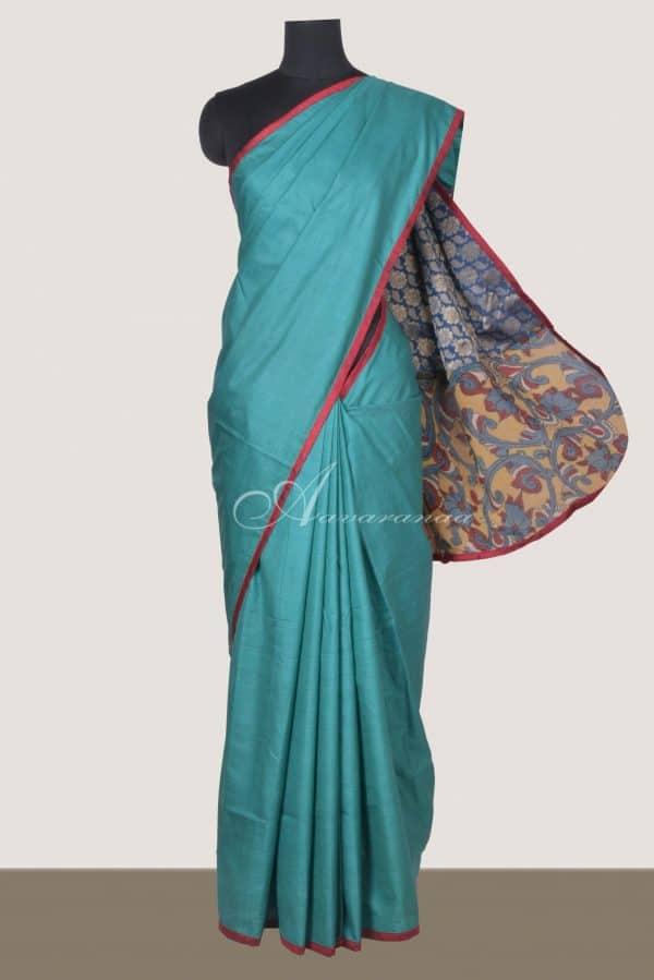 Teal cotton tussar saree with kalamkari blouse-0