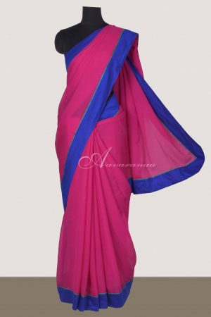 Pink chiffon saree with velvet embroidered blouse-0