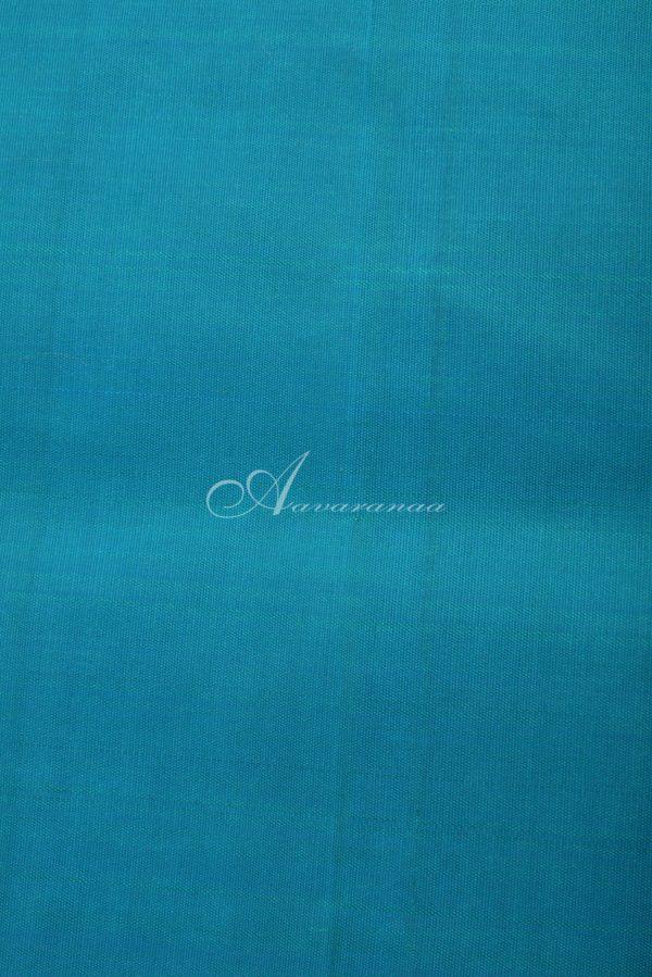 Teal kanchi silk and blue benarasi silk fusion saree-14602