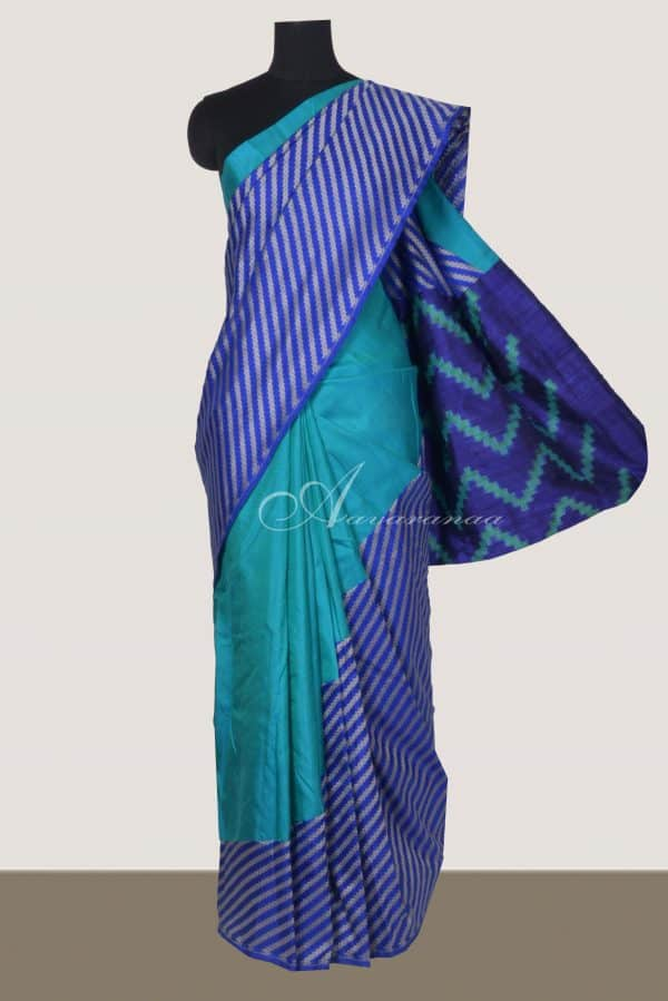 Teal kanchi silk and blue benarasi silk fusion saree-0
