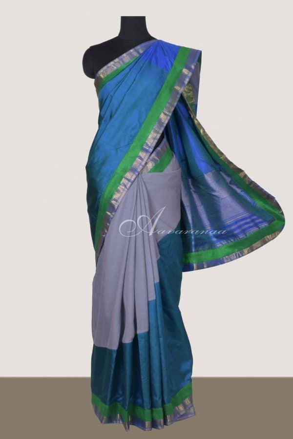 Grey chiffon blue kanchi silk fusion saree-0