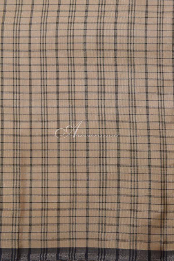 Beige kanchi silk saree with black checks-14619