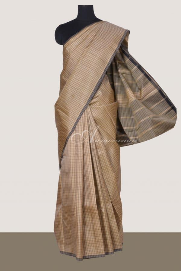 Beige kanchi silk saree with black checks-0