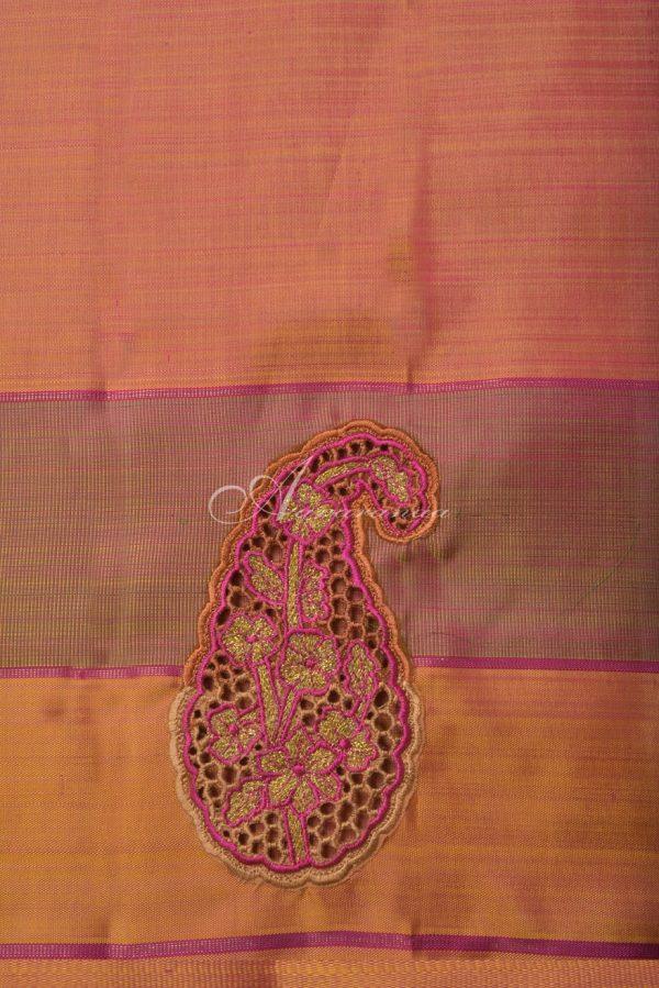 Pink stripes kanchi silk saree with mango cutwork-14633