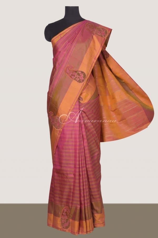 Pink stripes kanchi silk saree with mango cutwork-0