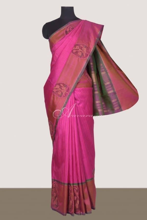 Pink kanchi silk saree with cutwork-0