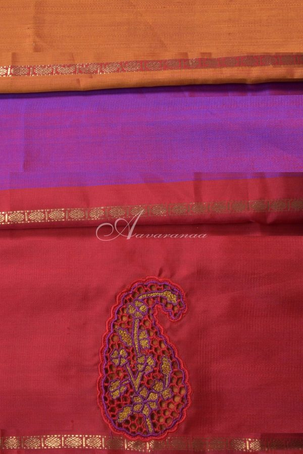 Purple zari long border kanchi silk saree with cutwork-14639