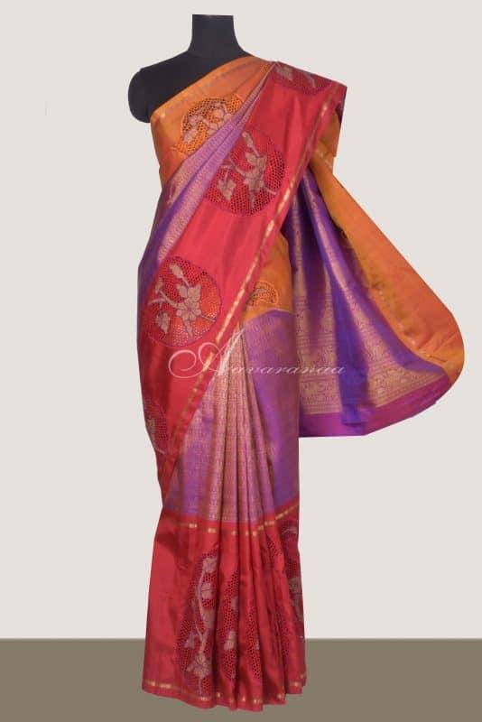 Purple zari long border kanchi silk saree with cutwork-0