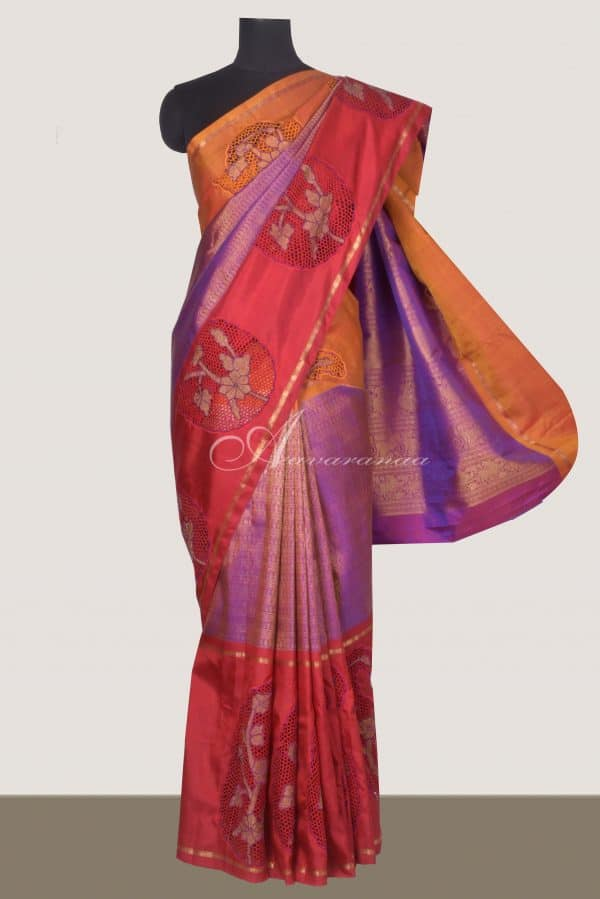 Purple zari long border kanchi silk saree with cutwork-0