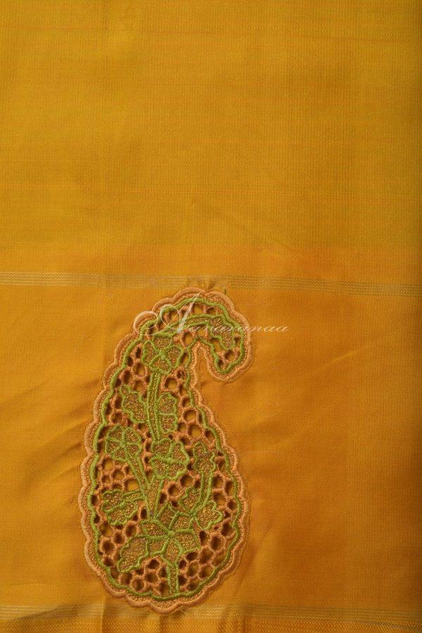 Lime green kanchi silk saree with cutwork border-14644