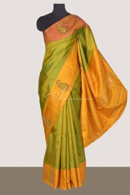 Lime green kanchi silk saree with cutwork border-0