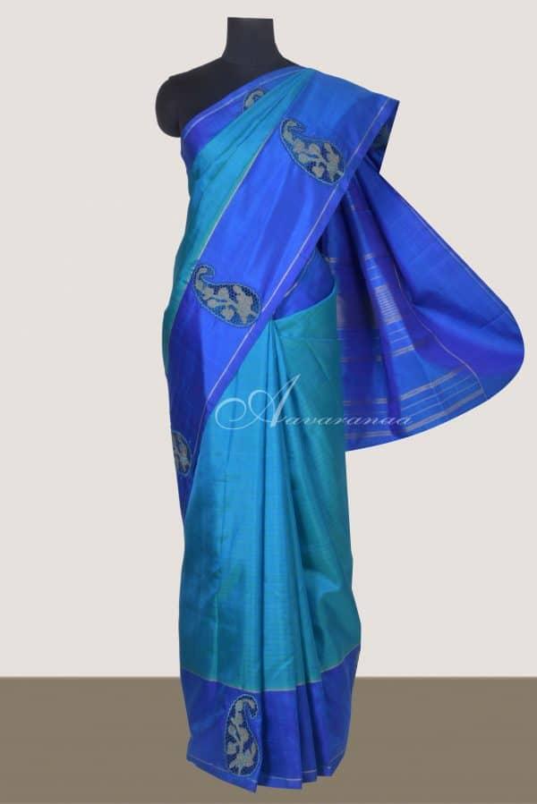 Teal blue kanchi silk saree with cutwork border-0