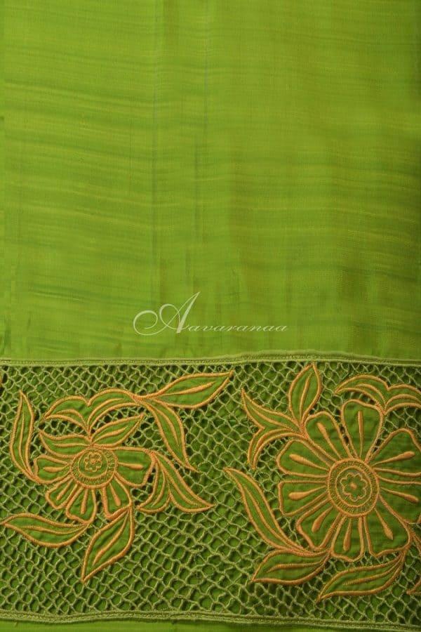 Yellow kanchi silk saree with cutwork pallu-14652