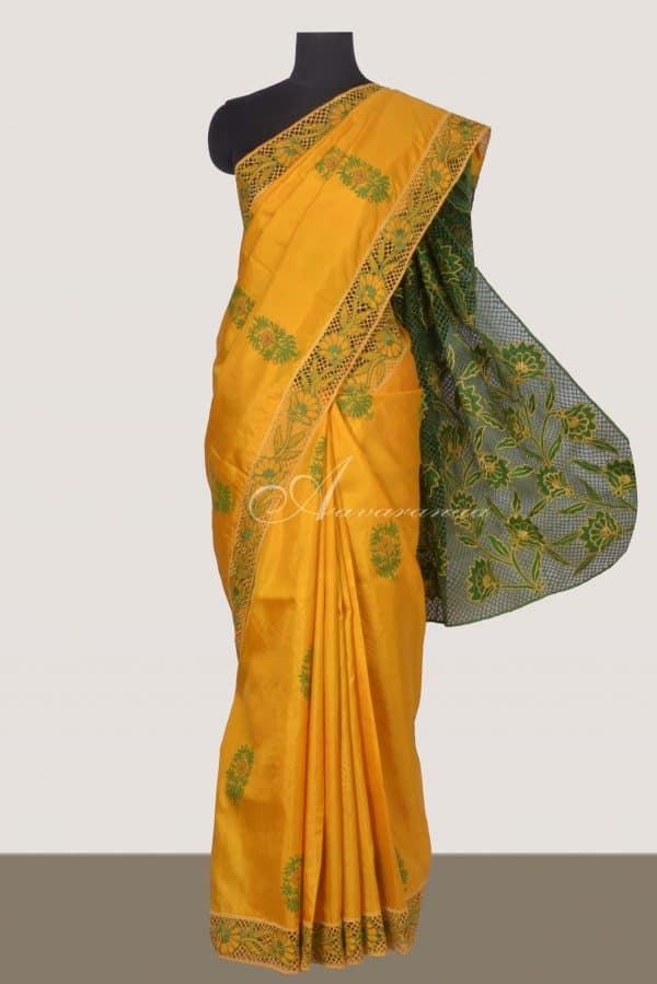 Yellow kanchi silk saree with cutwork pallu-0