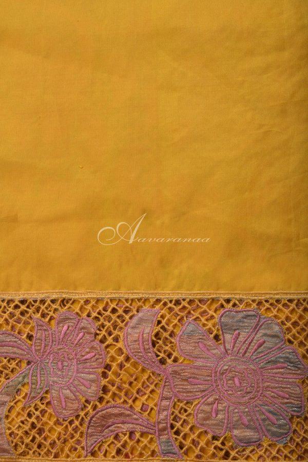 Mustard kanchi silk saree with cutwork -14656