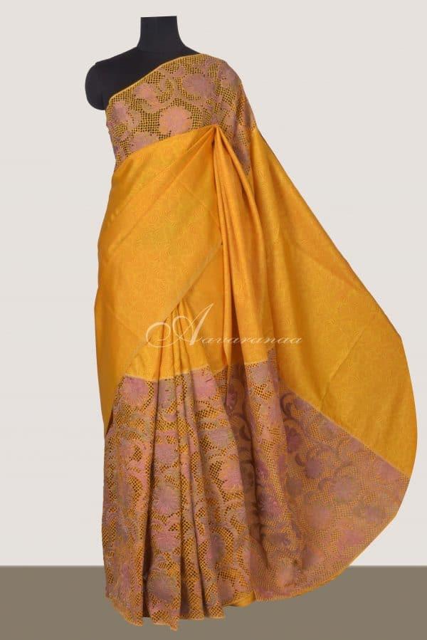Mustard kanchi silk saree with cutwork -0