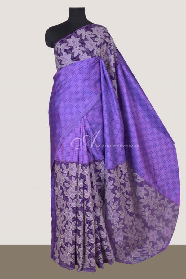 Purple silk saree with cutwork -0