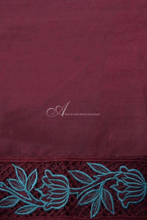 Teal kanchi silk saree with browncutwork pallu-14659