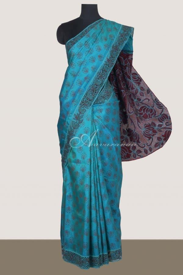 Teal kanchi silk saree with browncutwork pallu-0