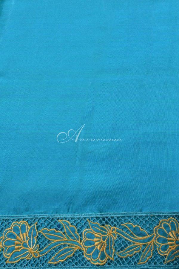 Mustard kanchi silk saree with blue cutwork-14664