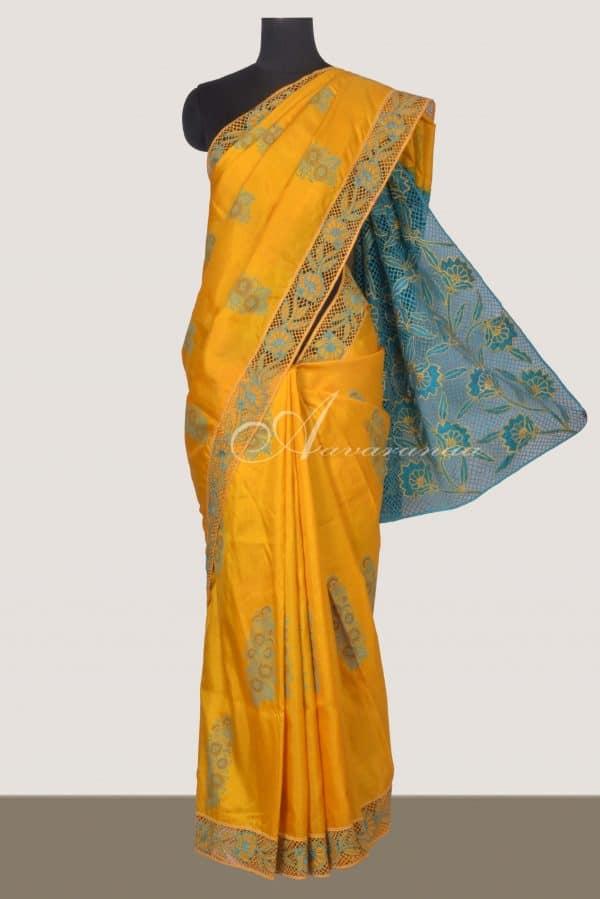 Mustard kanchi silk saree with blue cutwork-0