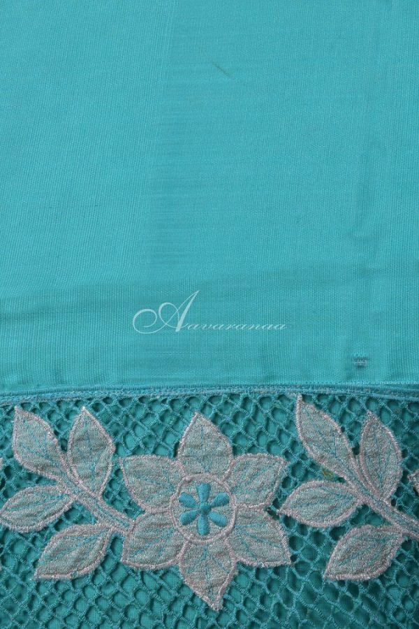 Teal kanchi silk saree with cutwork-14665