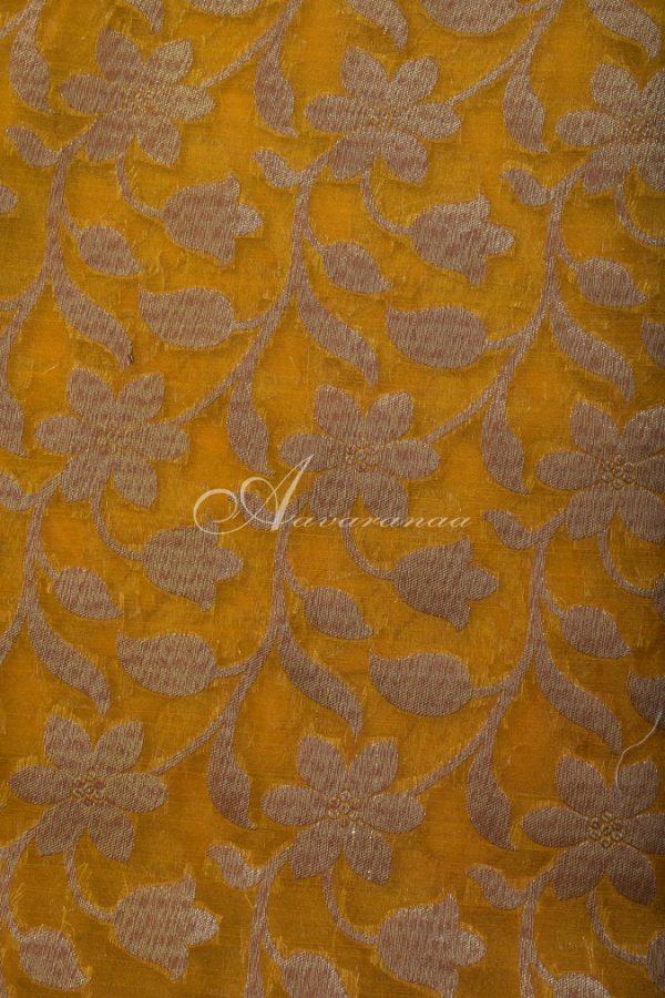 Beige organza mustard benaras fusion saree-14671