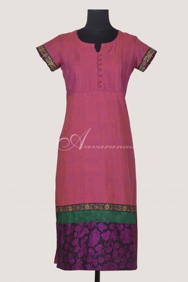 Pink woven cotton kurta with kalamkari flare-0