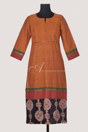 Orangewoven cotton kurta withajrakh silkflare-0