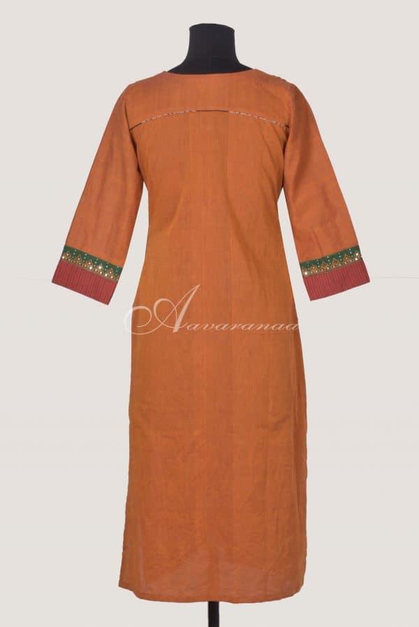 Orangewoven cotton kurta withajrakh silkflare-14694